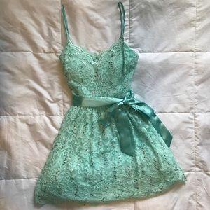 Dresses & Skirts - Short Teal Lace Formal Dress